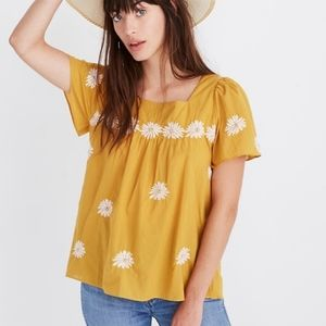 Madewell mustard peasant top embroidered flowers S